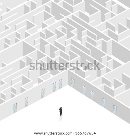 Business man stand near the entrance of big maze. - stock vector