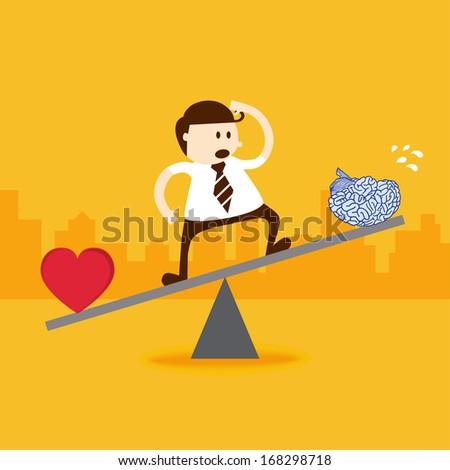 Business man stand on seesaw balancing with heart and brain - stock vector