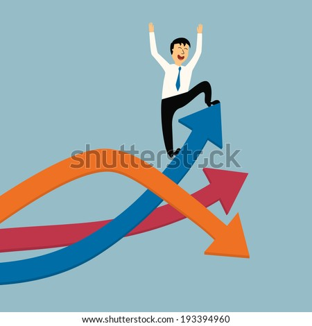 business man stand on top of graph arrow,successful concept,illustration,vector - stock vector