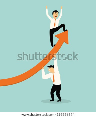 business man stand on top of graph arrow with help of handsome business man,successful concept,illustration,vector - stock vector