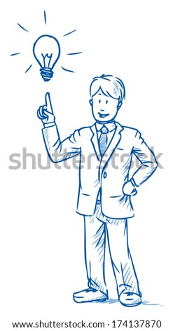 Business man standing and having an idea with hand pointing up to light bulb ,Â?Â? hand drawn vector illustration - stock vector