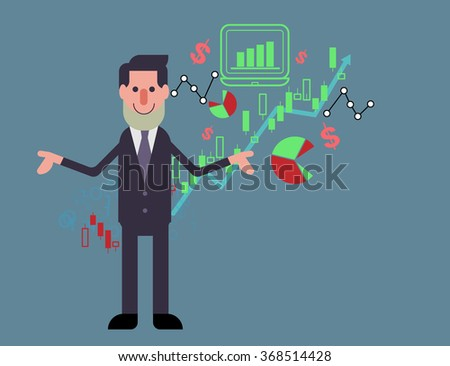 business man  standing confidently in front of rising stock market chart vector illustration background represent up trend of stock market - stock vector