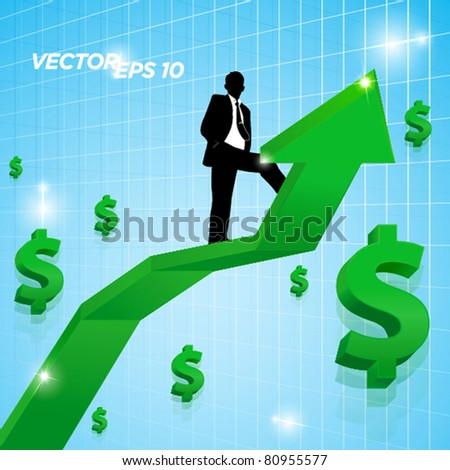 business man standing on arrow with rising money sign - stock vector