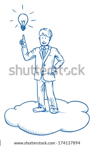 Business man standing on cloud having an idea with hand pointing up to light bulb, cloud computing, hand drawn vector illustration - stock vector