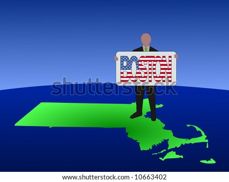 business man standing on map of Massachusetts with Boston text sign - stock vector
