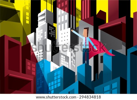 Business man standing on top of building, challenge the future. - stock vector