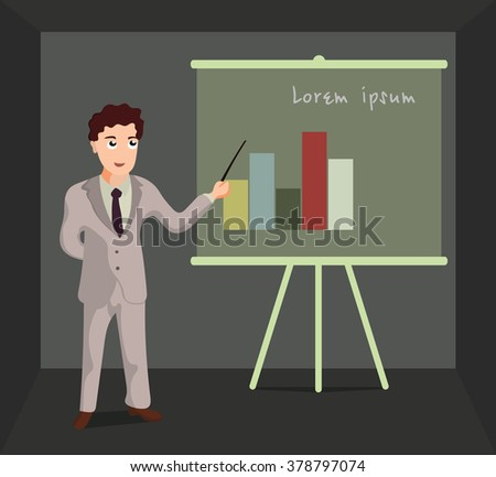 Business man standing pointing at chart and presentation. Cartoon illustration of  man on the background of the graph.