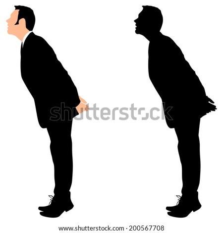 business man standing tiptoe looking up - stock vector