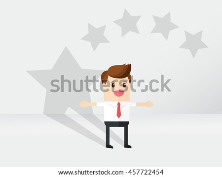 business man standing with star shaped shadow. begging for ratings and feedback