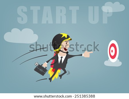 Business man start up success vector illustration - stock vector