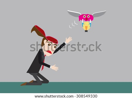 Business man stealing idea by brain with vector flat design - stock vector