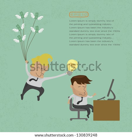 Business man stealing idea , eps10 vector format - stock vector