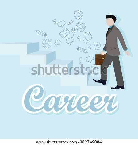 business man step up career climbing stairs staircase vector flat illustration goal rise employee ambition - stock vector