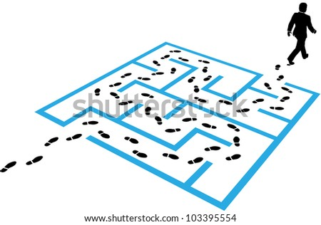 Business man steps footprints find a path through a maze puzzle to a solution - stock vector