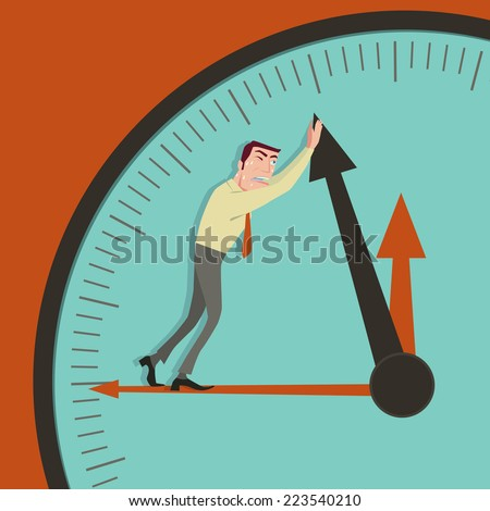 Business man stop time. - stock vector