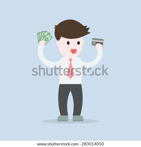 Business man take money from card concept , EPS10 vector illustration - stock vector