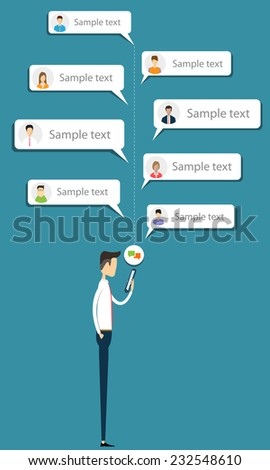 Business man talk to business on mobile message