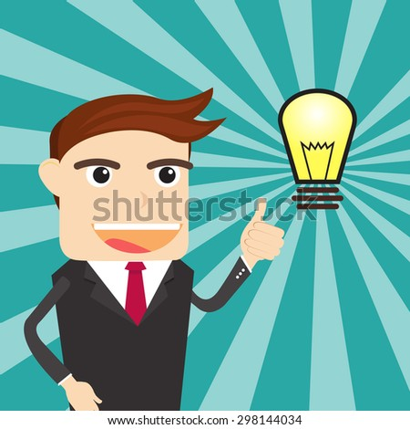 Business Man Think Big Idea - stock vector