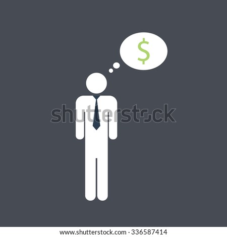 Business man thinking about money. Vector icon. - stock vector