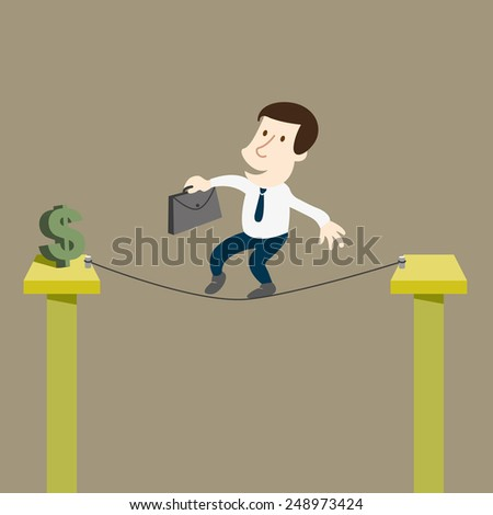 Business man to risk for money  - stock vector