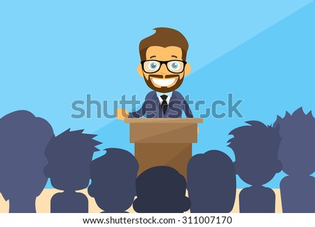 Business Man Tribune Speech People Group Silhouettes Conference Meeting Business Seminar Flat Vector Illustration - stock vector