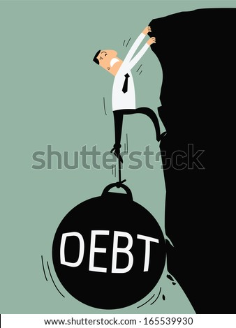 Business man try hard to climb up the cliff but debt burden bring him down. Business concept on debt. - stock vector