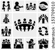 Business man vector icons set on gray - stock vector
