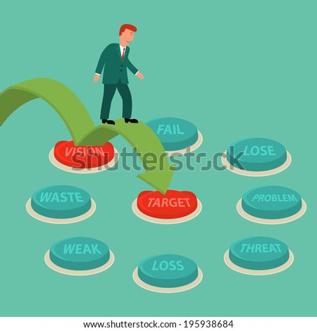 business man walk on green arrow to red target button,illustration,vector - stock vector