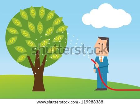 business man watering money tree - stock vector