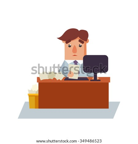 Business man with a paper cartoon character vector illustration