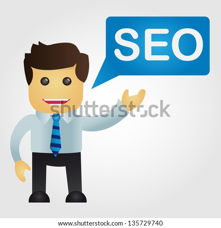 Business man with a word SEO - stock vector
