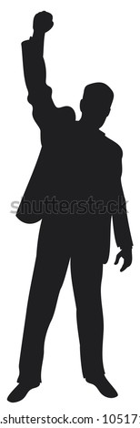 business man with arms up celebrating (successful businessman, happy businessman, business man silhouette with his arms up enjoying his success) - stock vector