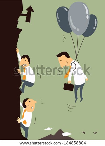 Business man with balloon floating in the air, representing to get better opportunity or chance to be successful than business men who climbing up the mountain. Business concept.  - stock vector