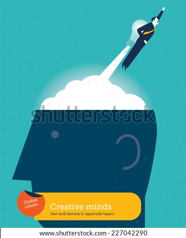 Business man with bulb rocket on head. Vector illustration Eps10 file. Global colors. Text and Texture in separate layers. - stock vector