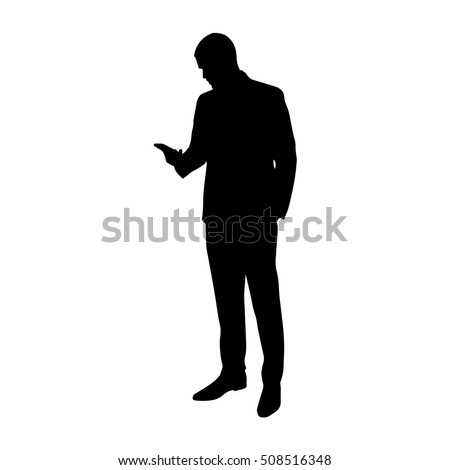 Business man with cell phone in his hand, vector silhouette. Standing man in suit. Manager, broker, lawyer, boss, chief, salesman