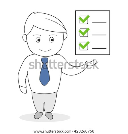Business man with check list, vector illustration - stock vector
