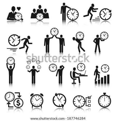 Business man with clock time management icons set vector illustration - stock vector