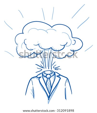 Business man with explosion instead of his head, concept of stress, burnout, headache, depression, hand drawn doodle vector illustration - stock vector