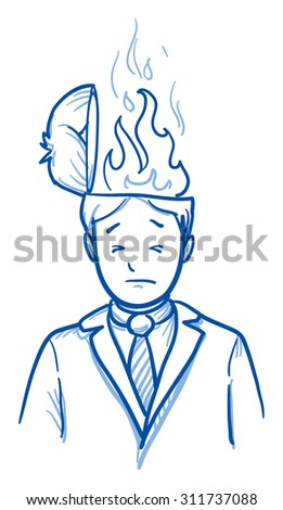 Business man with flames coming out of his head, concept for stress, burnout, headache, hand drawn doodle vector illustration - stock vector