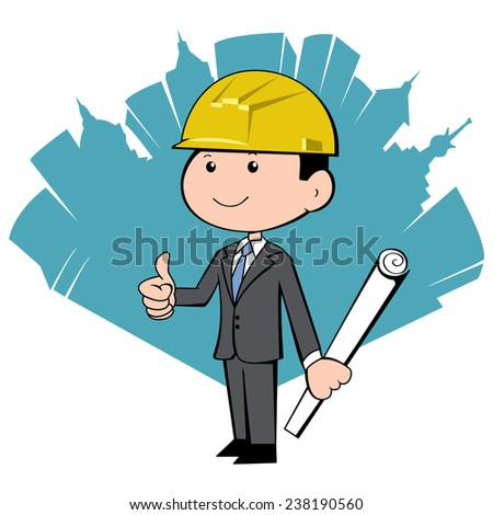 Business man with hardhat and abstract city, vector illustration - stock vector