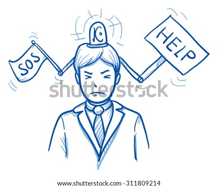 Business man with help-sign and white flag coming out of his head, concept for stress, burnout, headache, hand drawn doodle vector illustration - stock vector