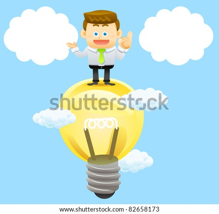 business man with  idea bulb