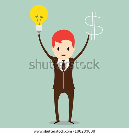 Business man with  ideas and money - stock vector