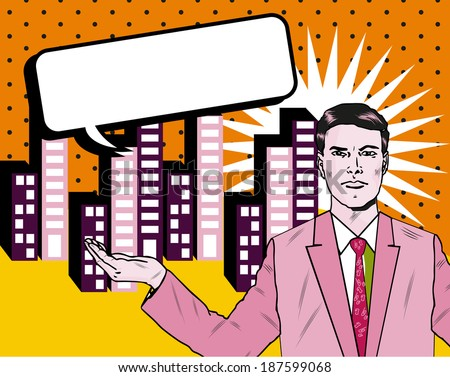 Business man with open hand on city city skyline background pop art style - stock vector