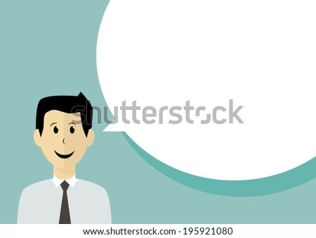 Business man with speech bubble - stock vector