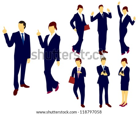 Business man woman silhouettes.Vector - stock vector