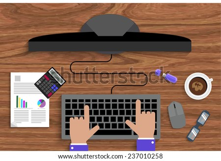 Business man working with computer on table, top view. Flat design cartoon style - stock vector