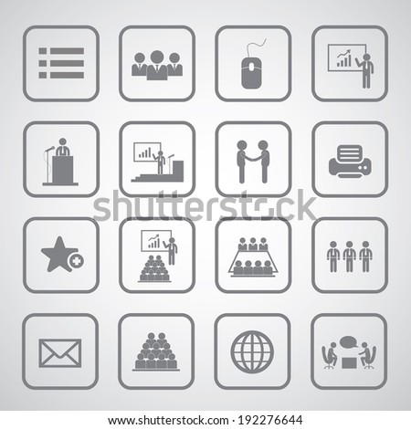 Business management and conference icon set  - stock vector