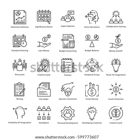 Business Management and Growth Vector Line Icons 18