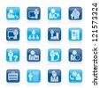 Business, management and hierarchy icons - vector icon set - stock photo